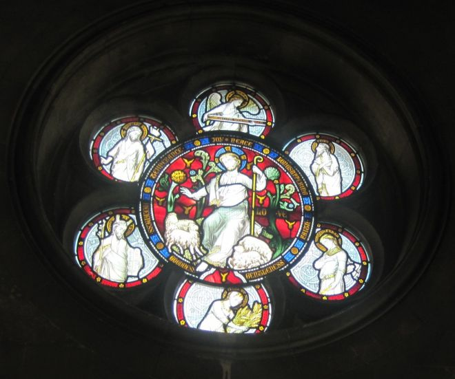 A stain glass window at Dublin Cathedral
